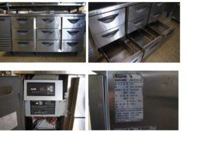 サンヨー電機㈱ 3段ドロワーテーブル冷蔵庫 SUR-DF1671-3A 中古品 AR-727-49